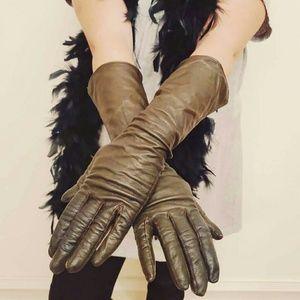 *Vintage Silk Leather Long Gloves*